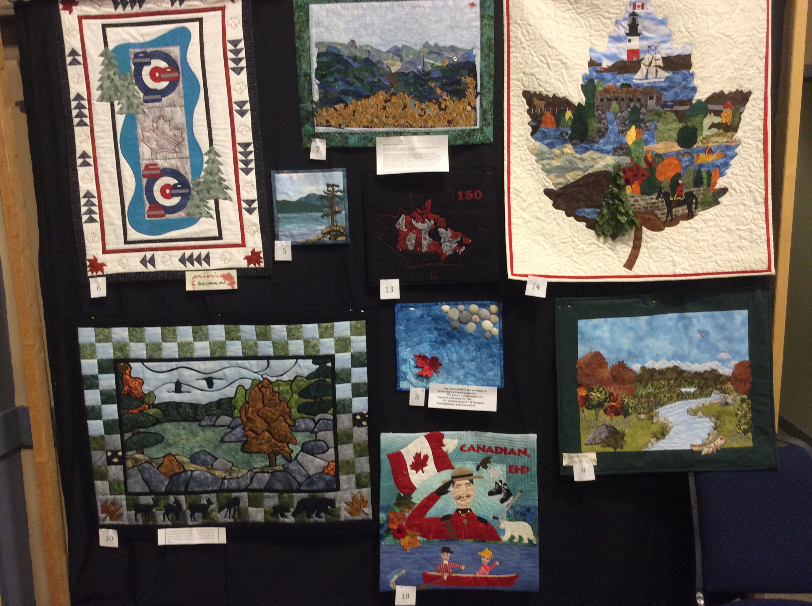 Samples of some of the Canada 150 Challenge quilts