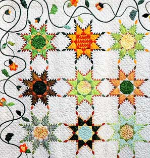 pieced star quilt on white background